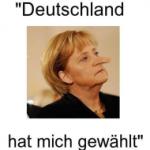 Frau Merkel mit Pinocchio-Nase. Die Freiheit als Lüge.
